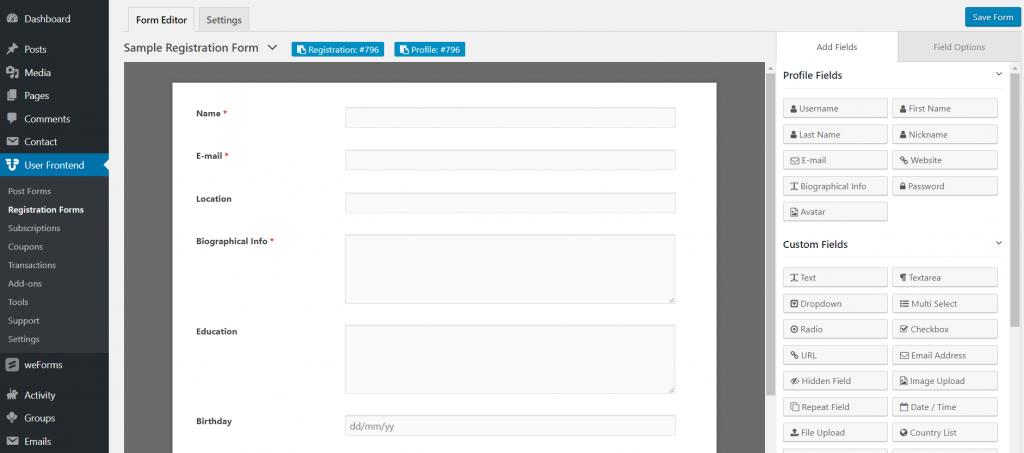 create-wpuf-registration-form-buddypress-profile-fields- WP User Frontend Premium Addons