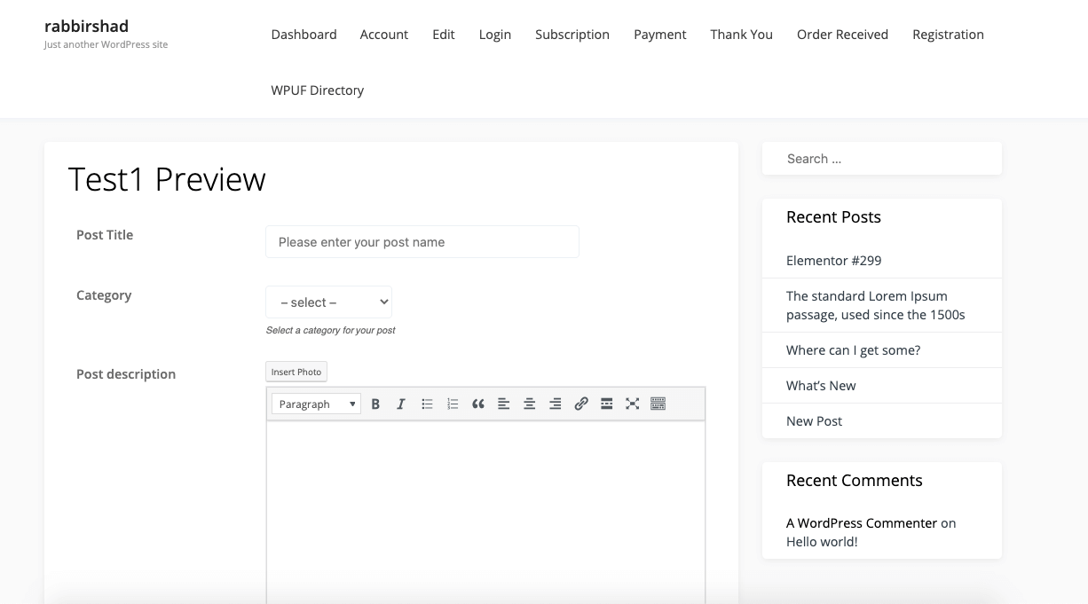 post form preview page