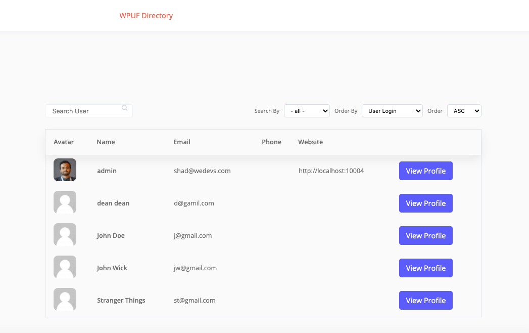 User Directory redesigned