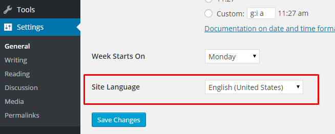 Site Language Changing option in WordPress admin panel