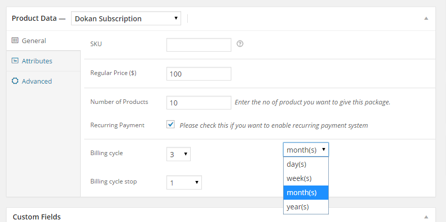 Create recurring subscription packs for Dokan sellers