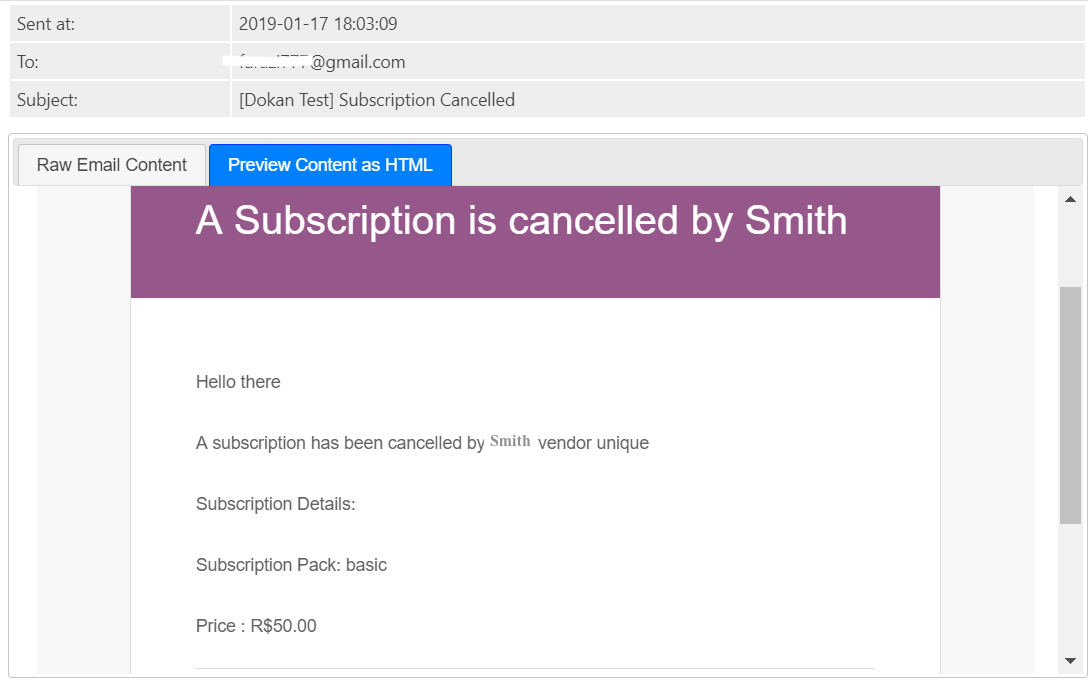 Subscription Cancellation Notification