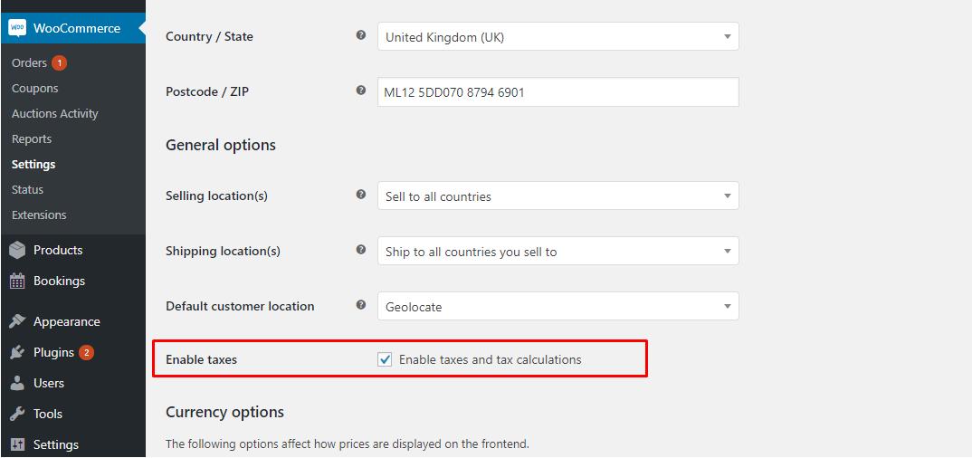 how to use dokan tax settings