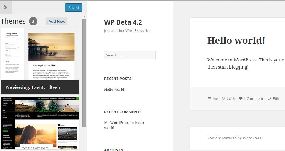 theme customizer wordpress 4.2
