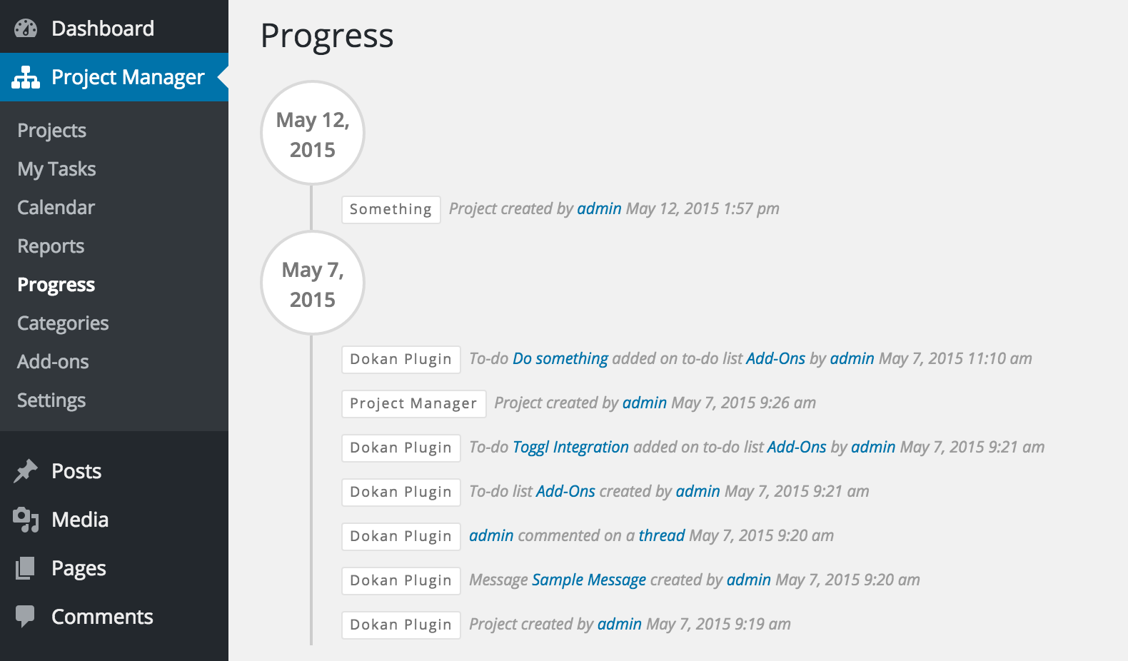 Project Manager Progress