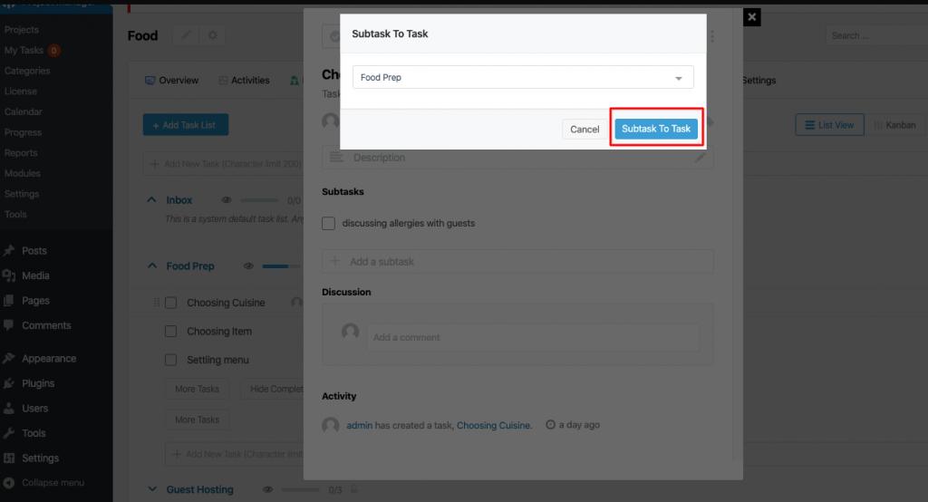 Subtask to task button