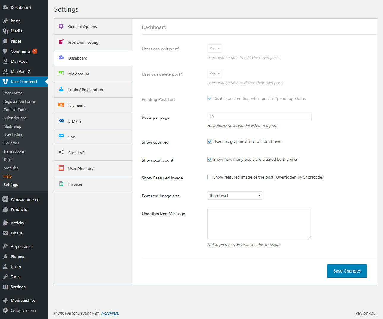 Setting up Frontend Dashboard for Users - weDevs