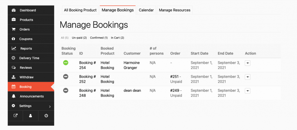 booking created