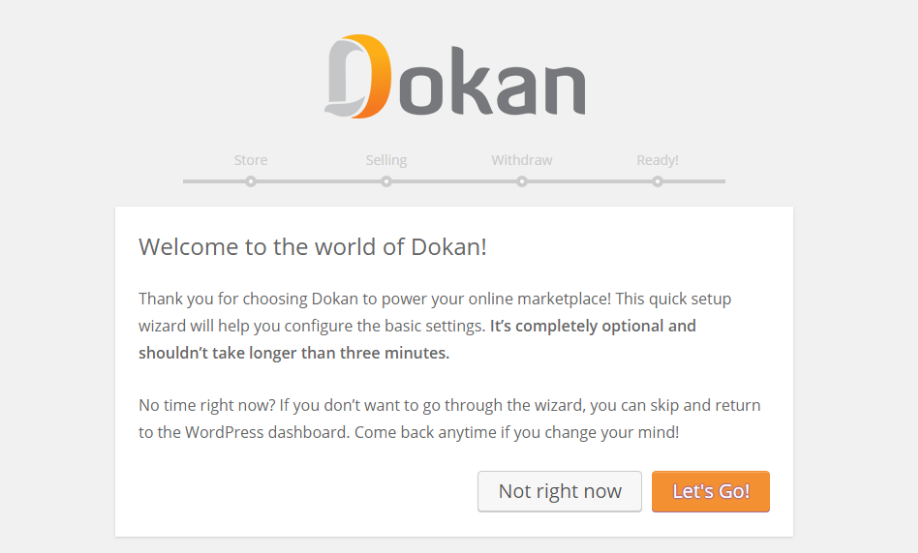 dokan multi-step wizard for admin