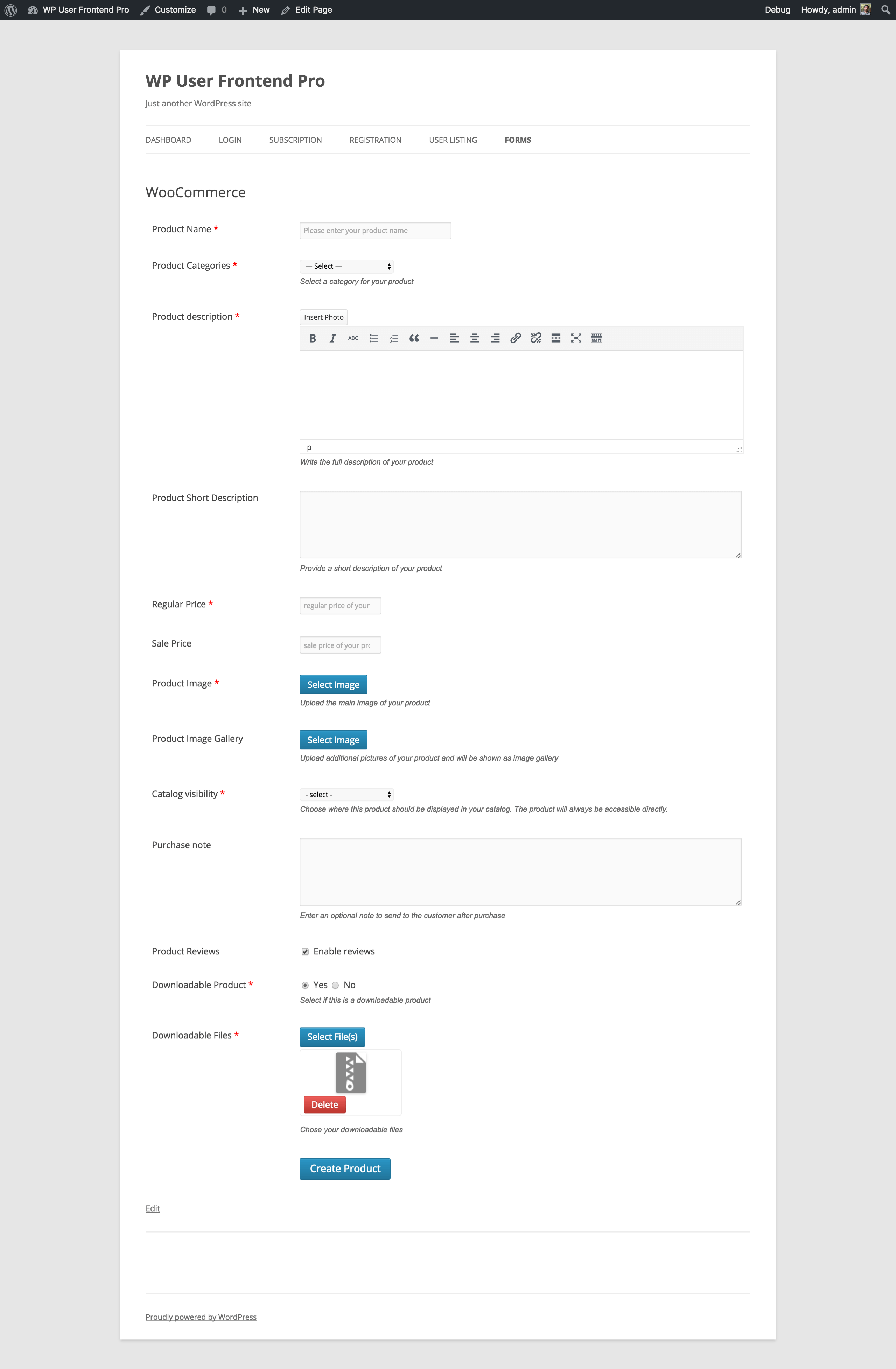 woocommerce-form-frontend
