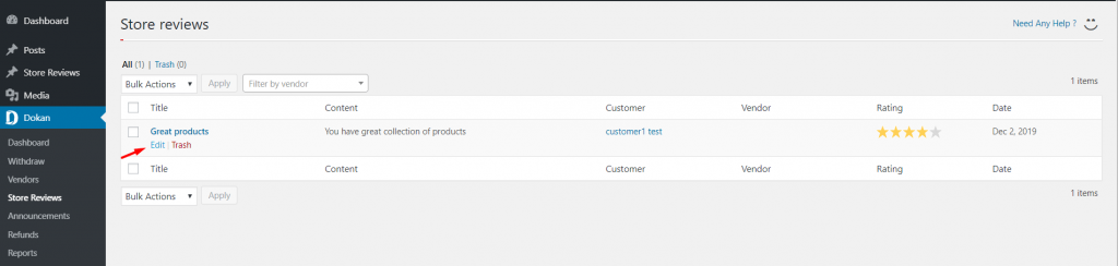 WP Admin Dashboard→Dokan→Store review