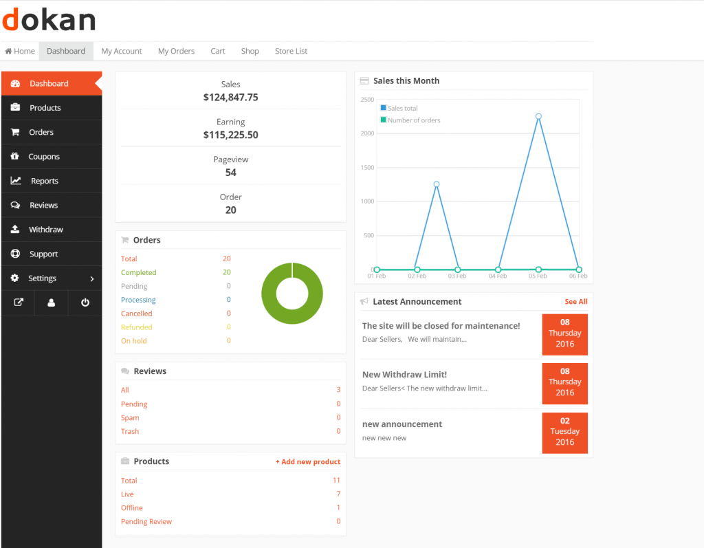 dokan multivendor free vendor dashboard