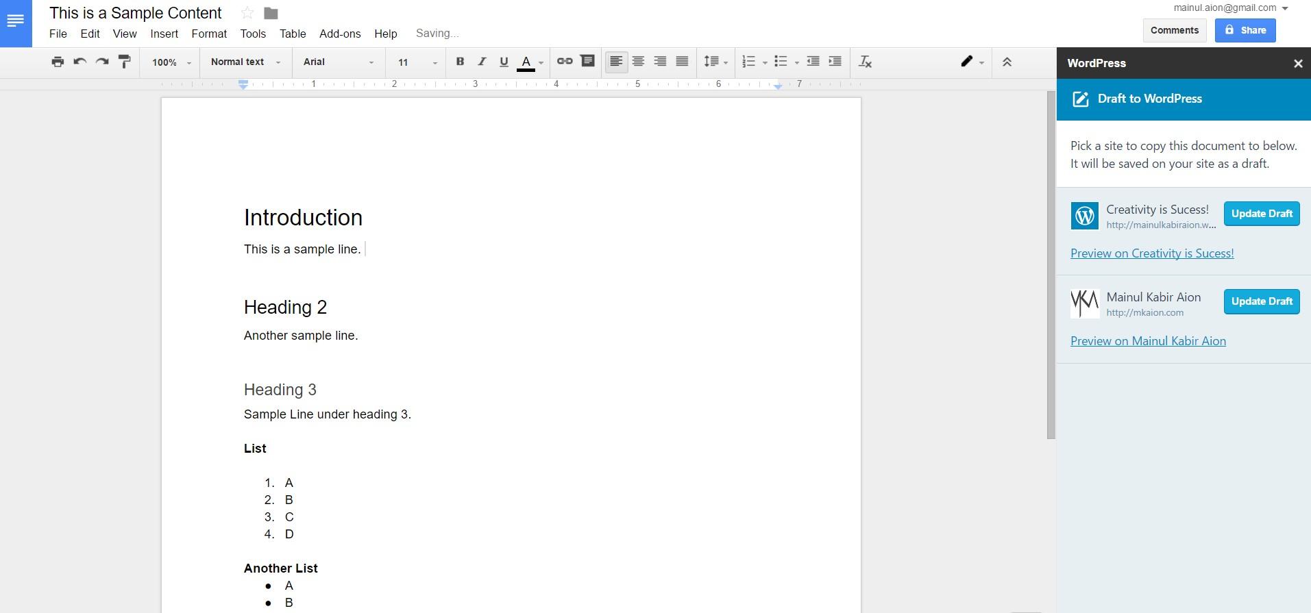 Tutorial] How-To Save Google Docs Drafts as WordPress Posts