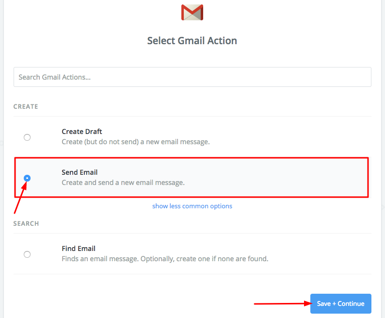 Action with Gmail setup