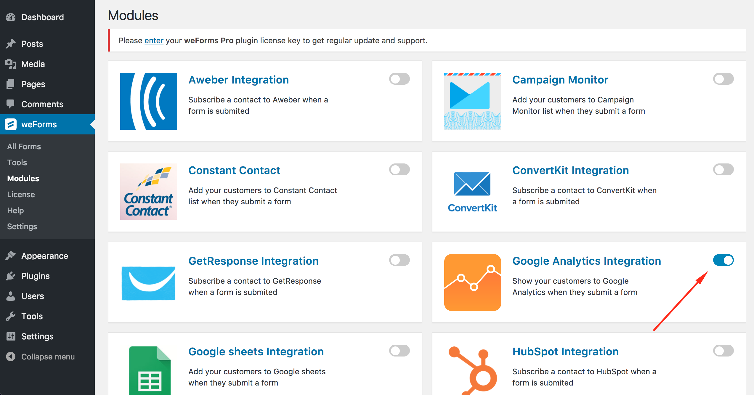 Google Analytics for weForms