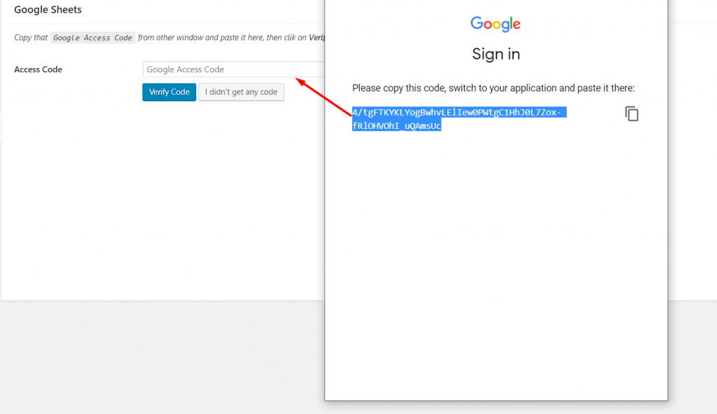 Google drive access code to integrate with weForms