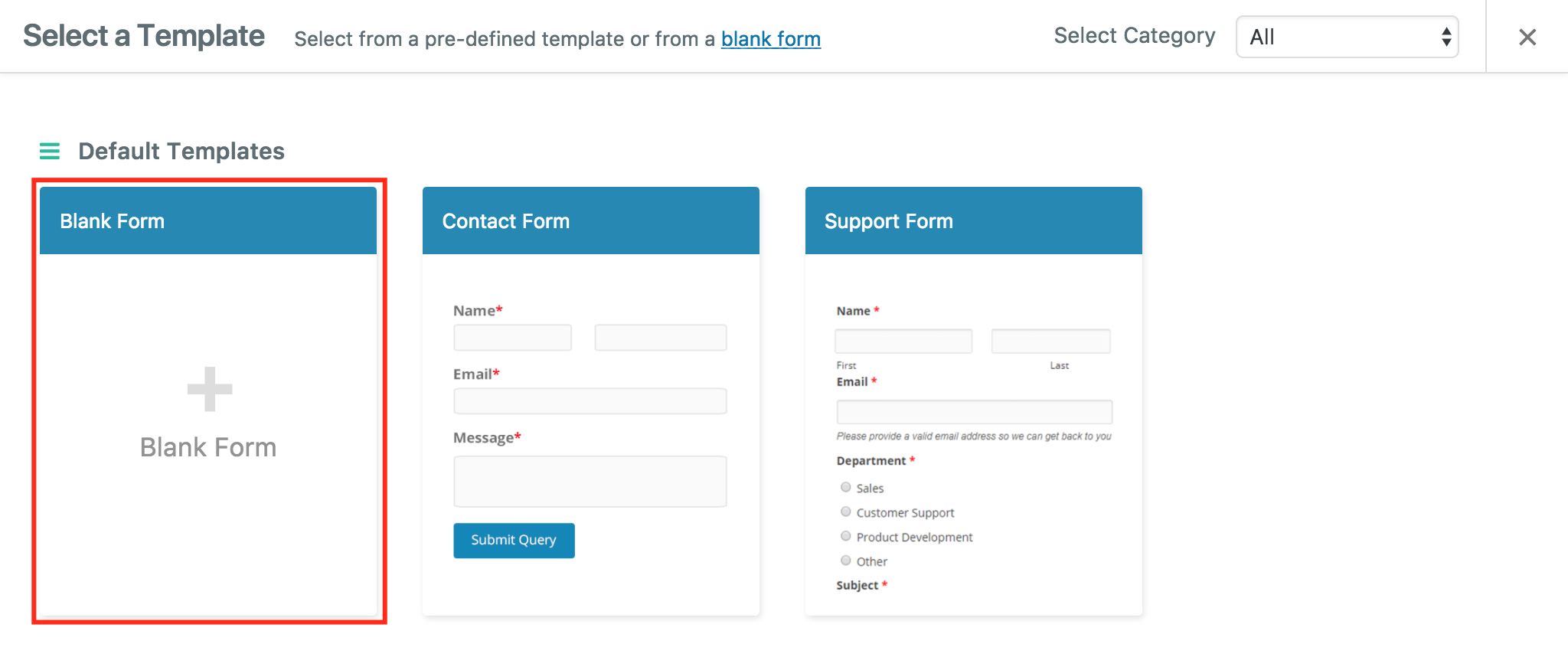 Create a form with weForms