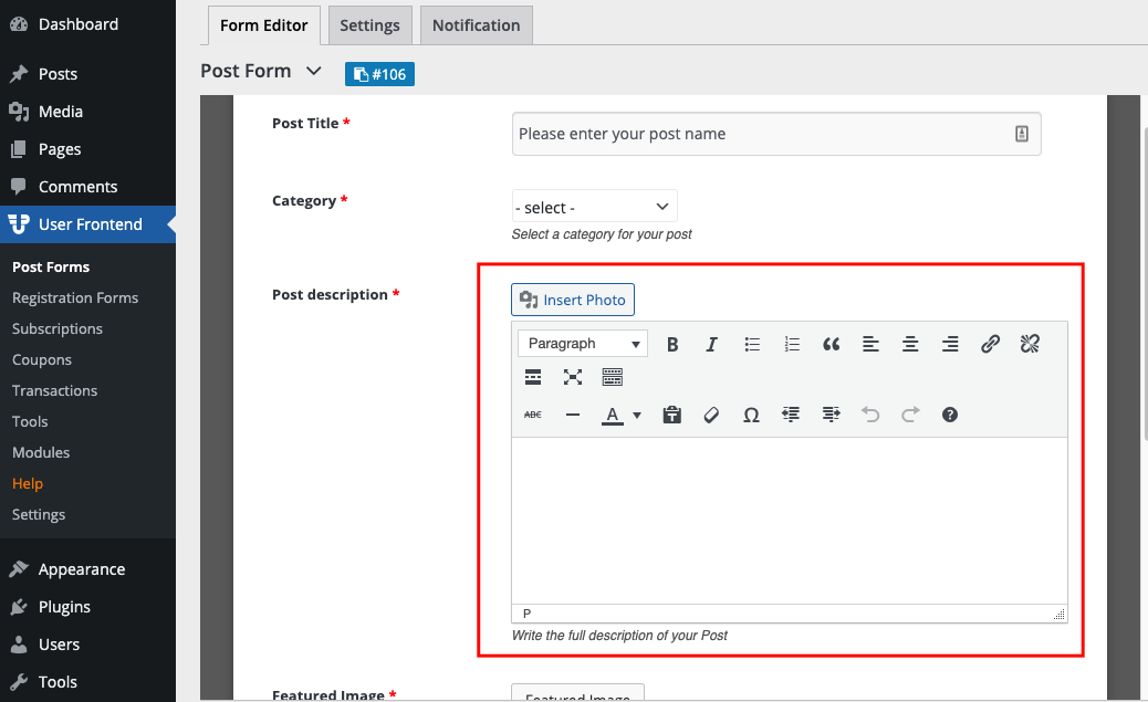 Form visibility option