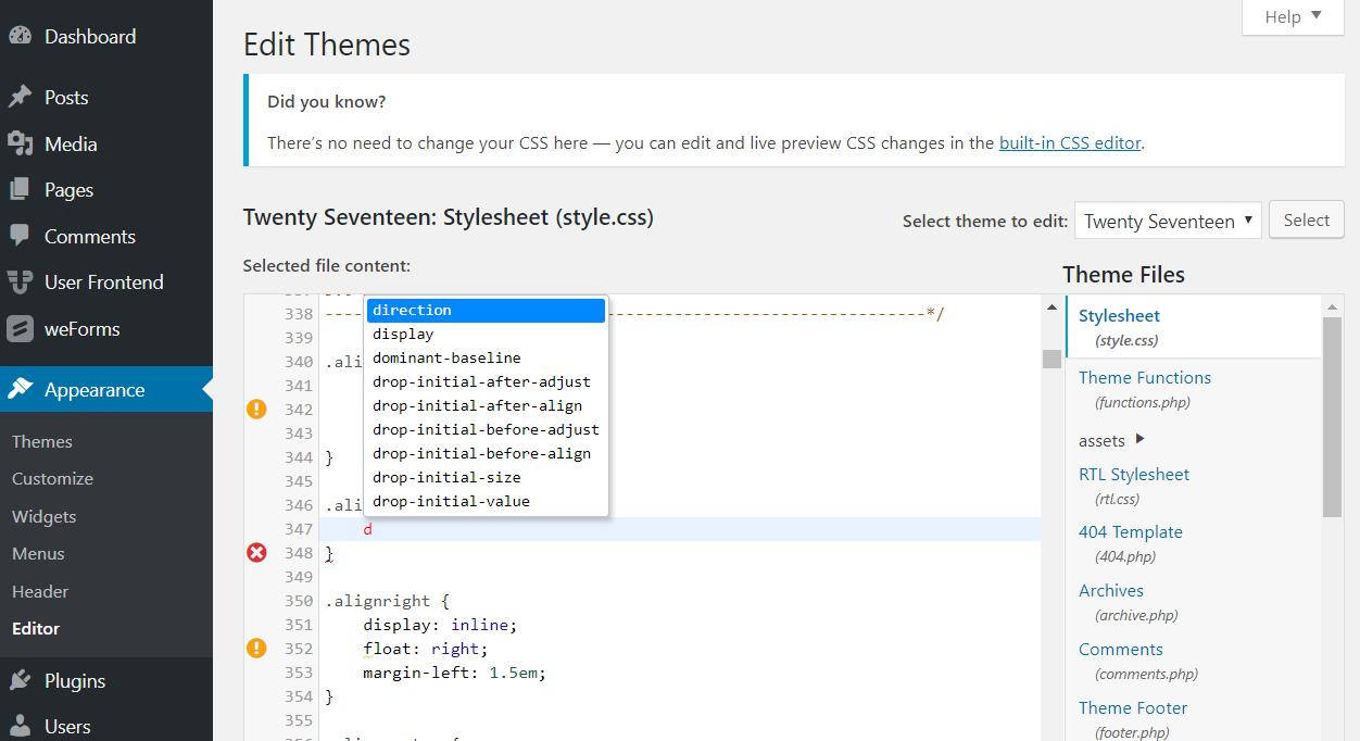 What S New In Wordpress 4 9 Tipton Improved Code Editor Customizer