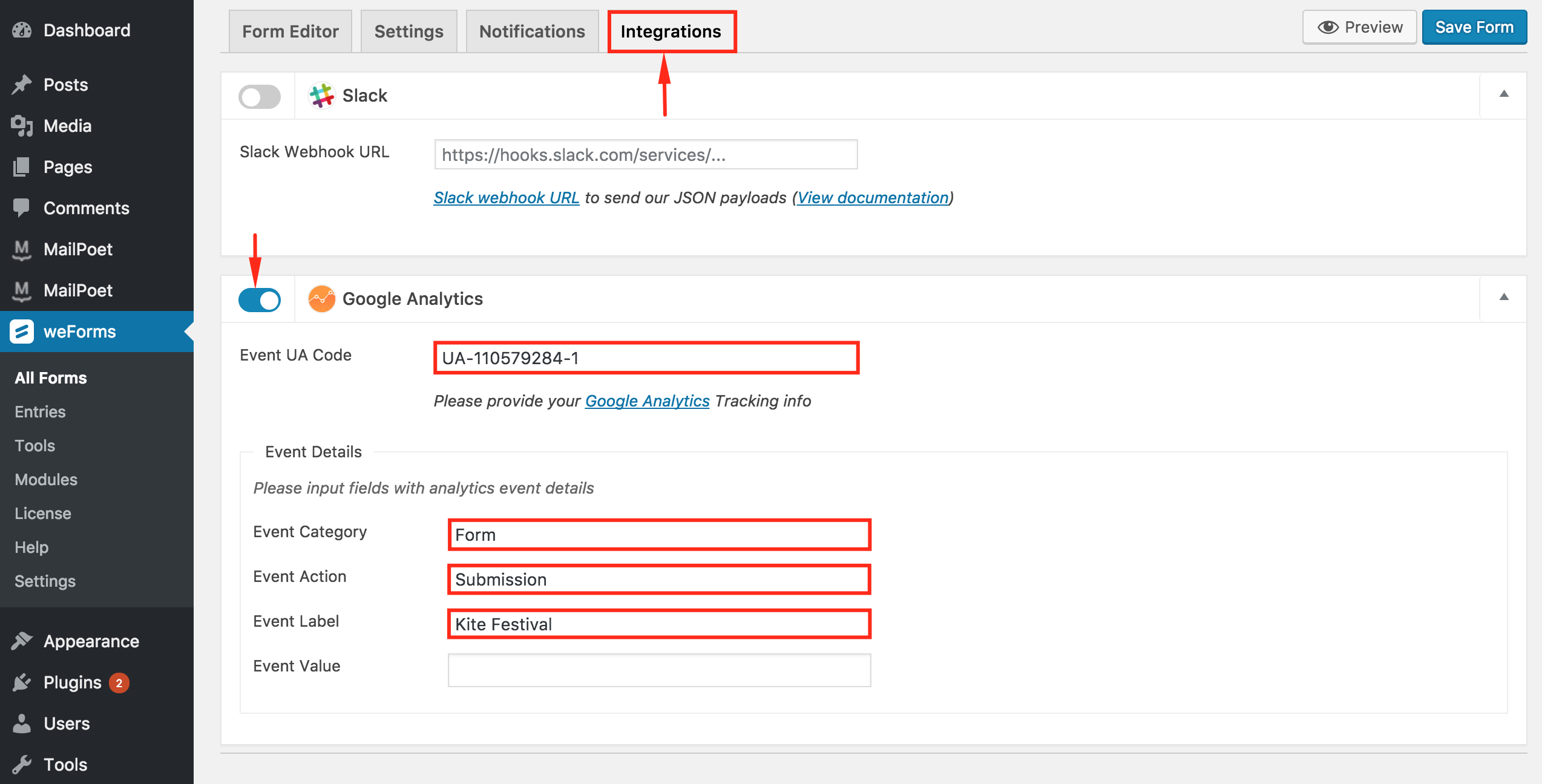 Configuring the form with analytics ID