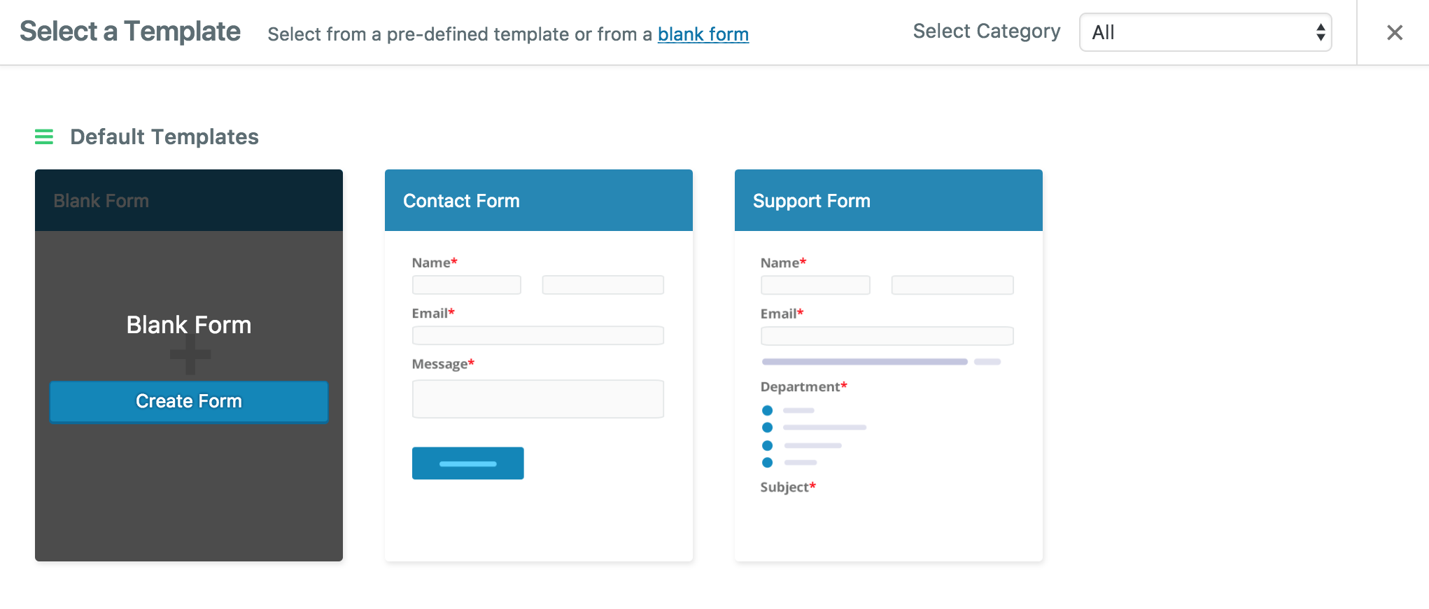 Creating a Form using weForms