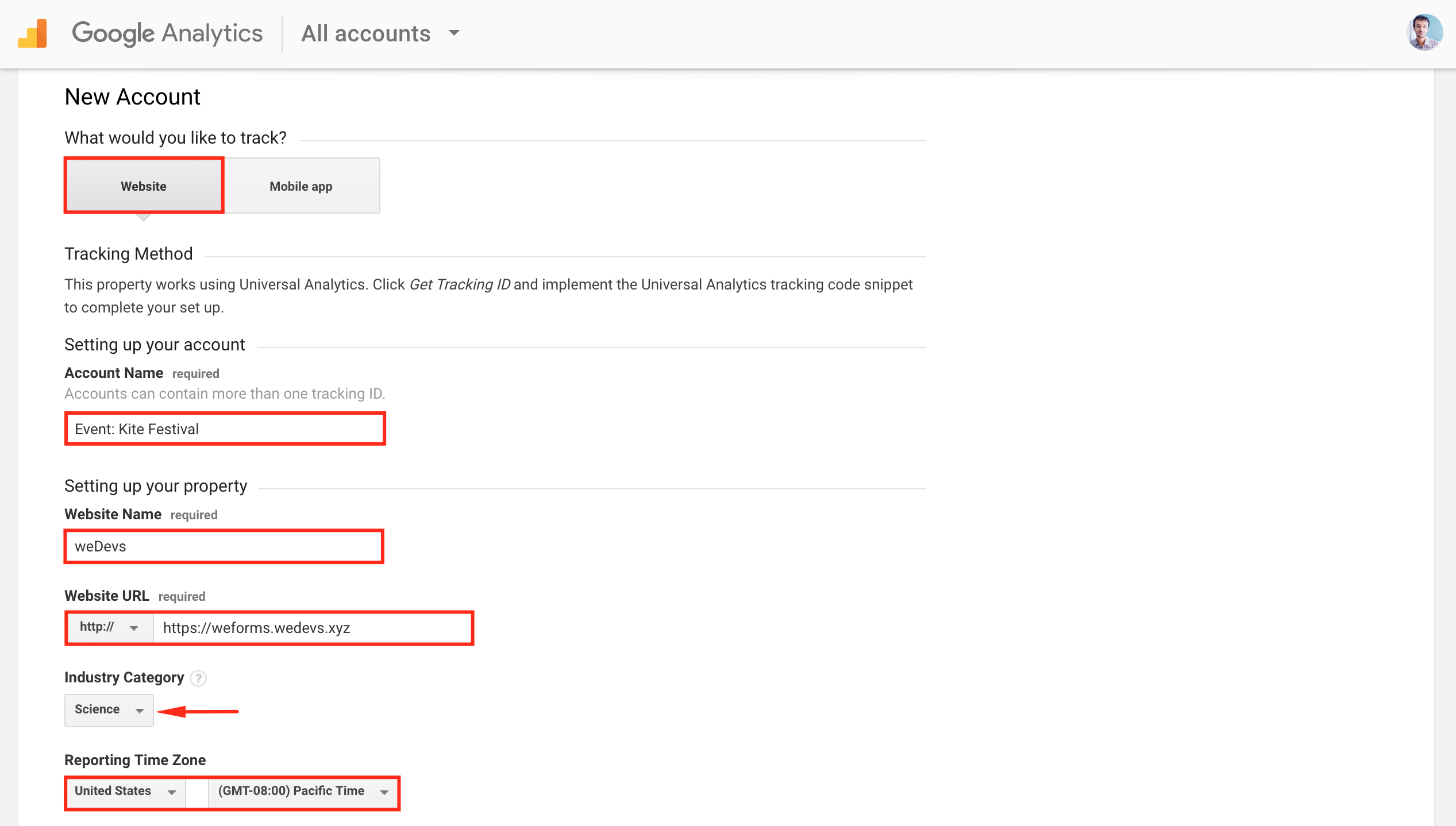Creating new account for analytics
