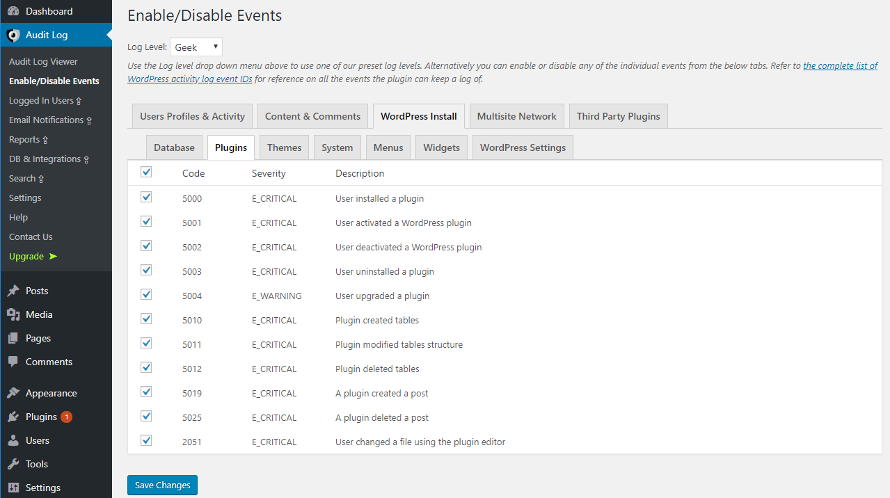 Enable disable events