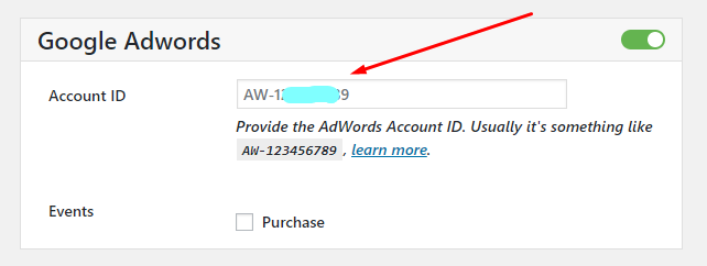 woocommerce conversion tracking google adwords account id
