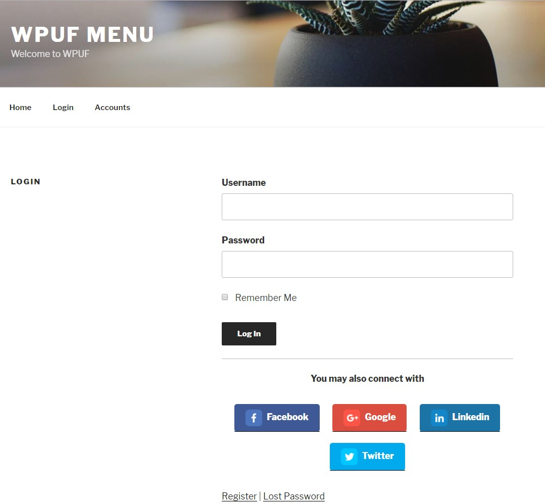 WPUF Social login and Registration in the frontend