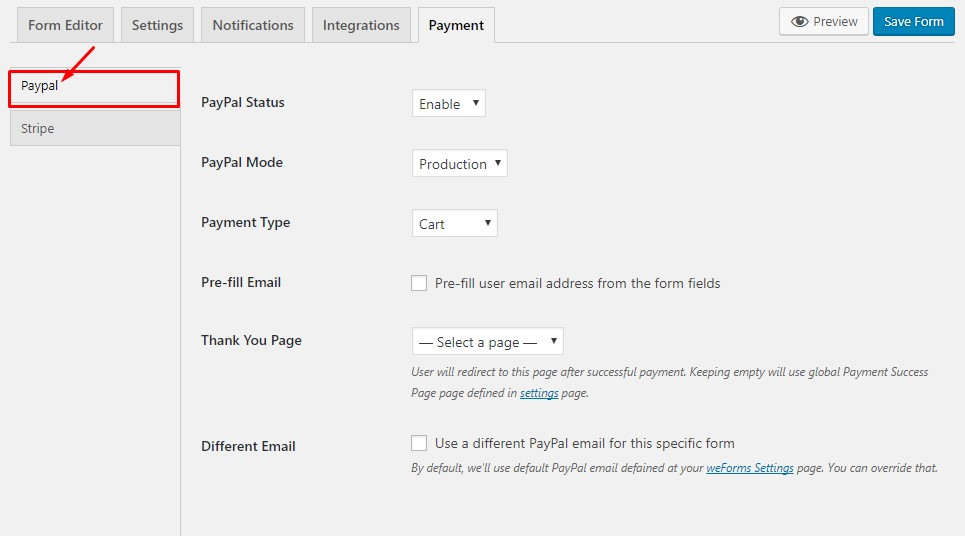 PayPal form setting