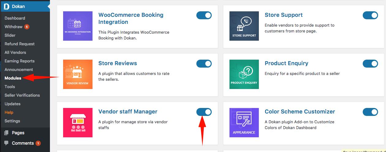 Admin Settings, Vendor Dashboard &