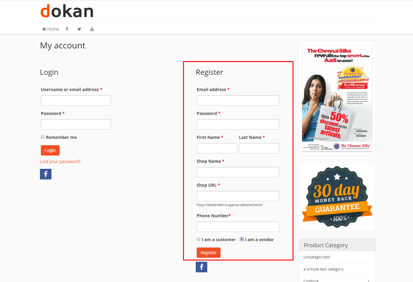dokan registration form