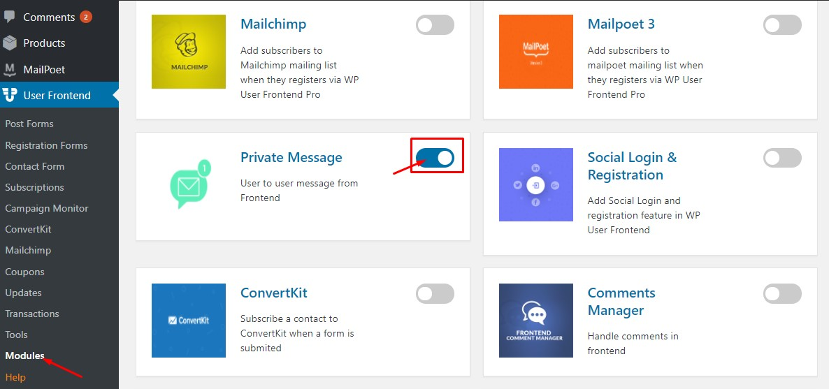 Activating Private Message Module