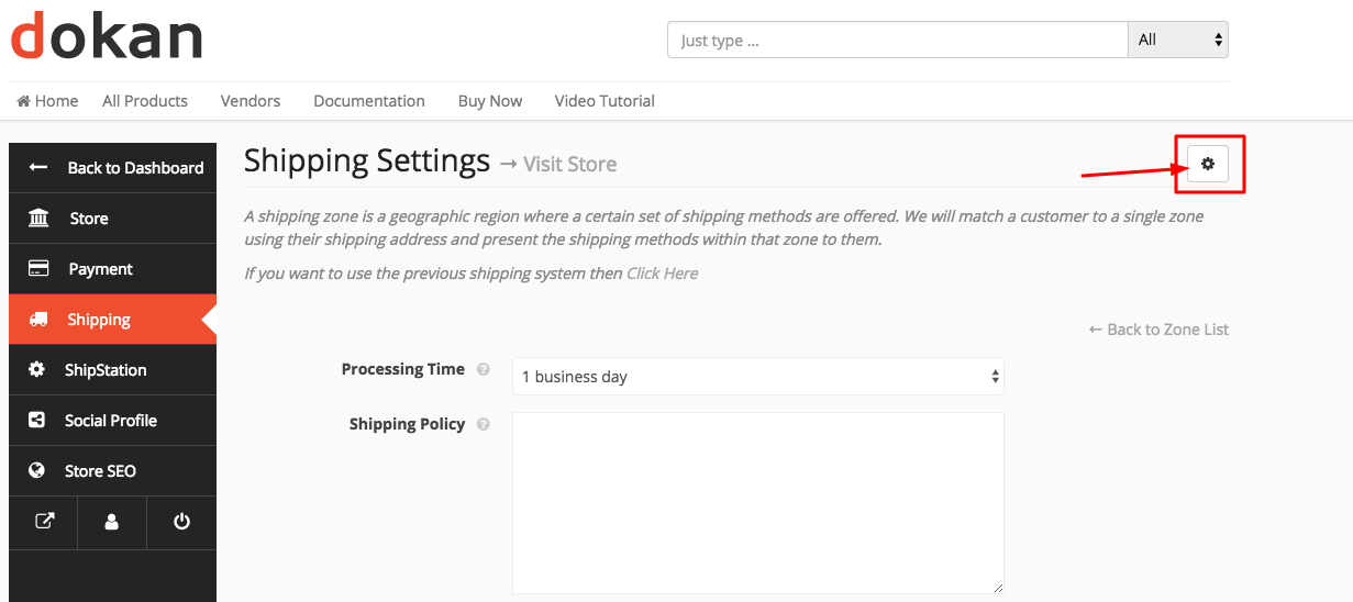Shipping policy settings Dokan