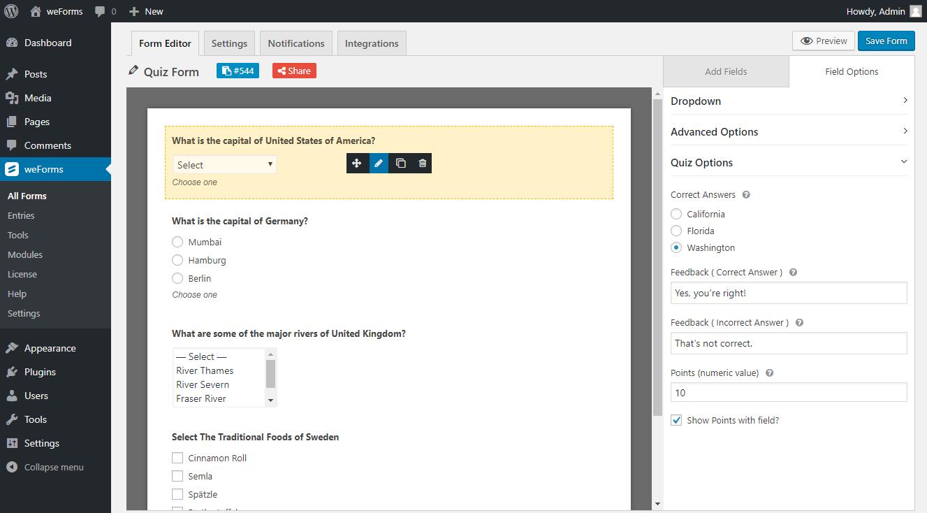 WordPress quiz