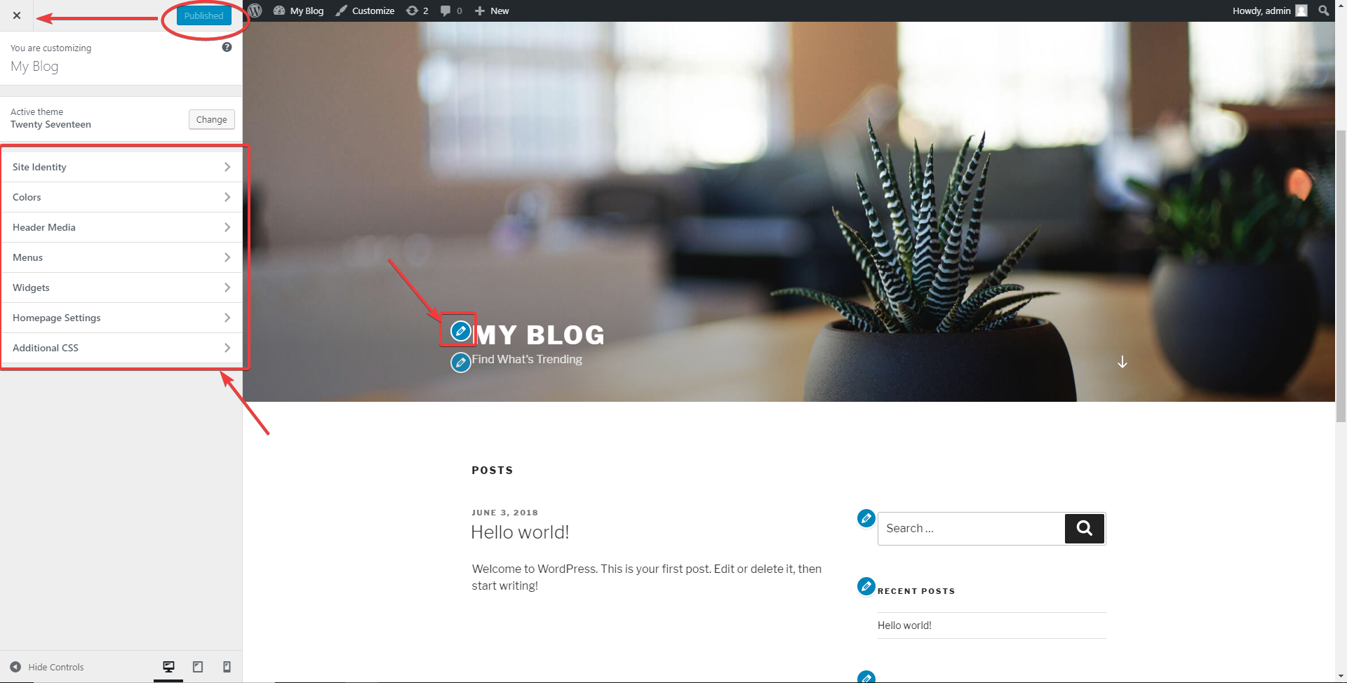 Site homepage WordPress