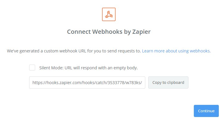 Connecting Webhooks by Zapier