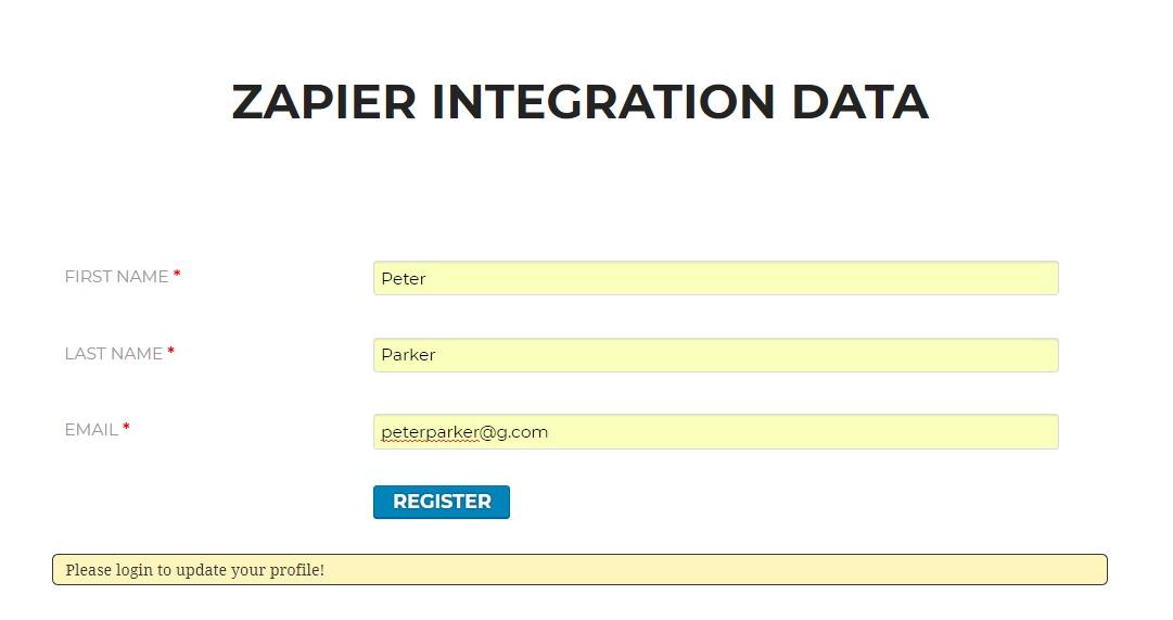 Frontend Registration Form