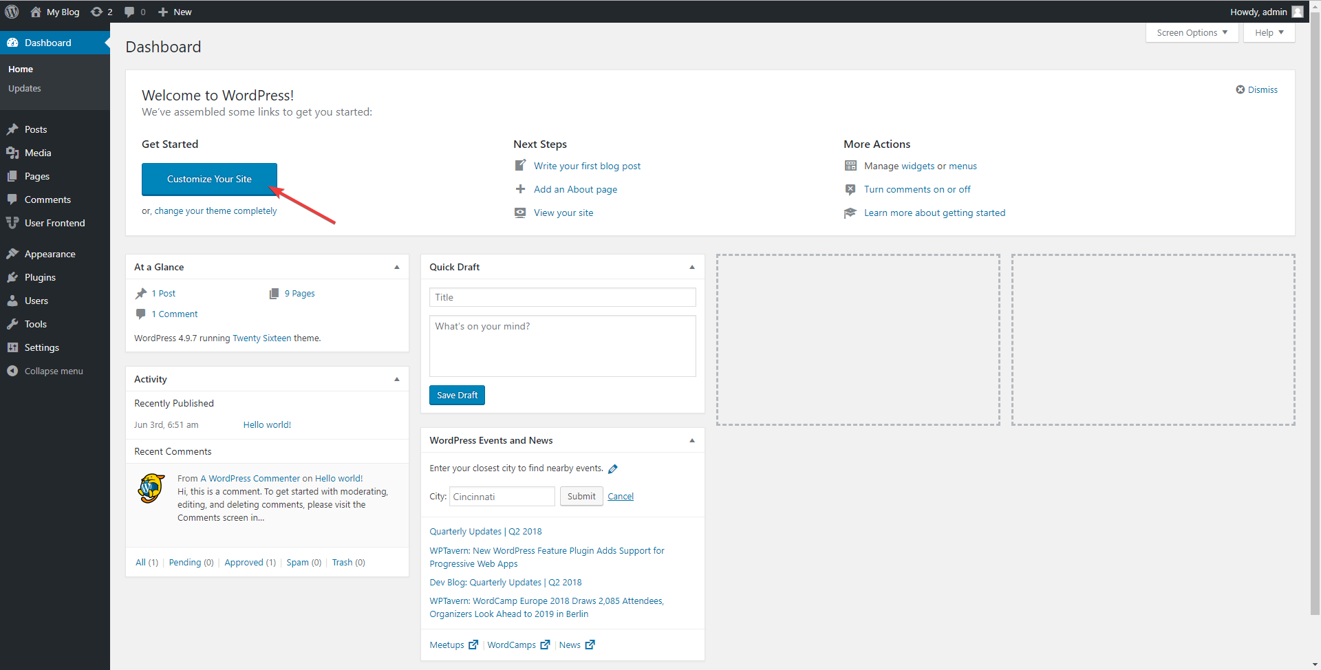 Admin dashboard wordPress