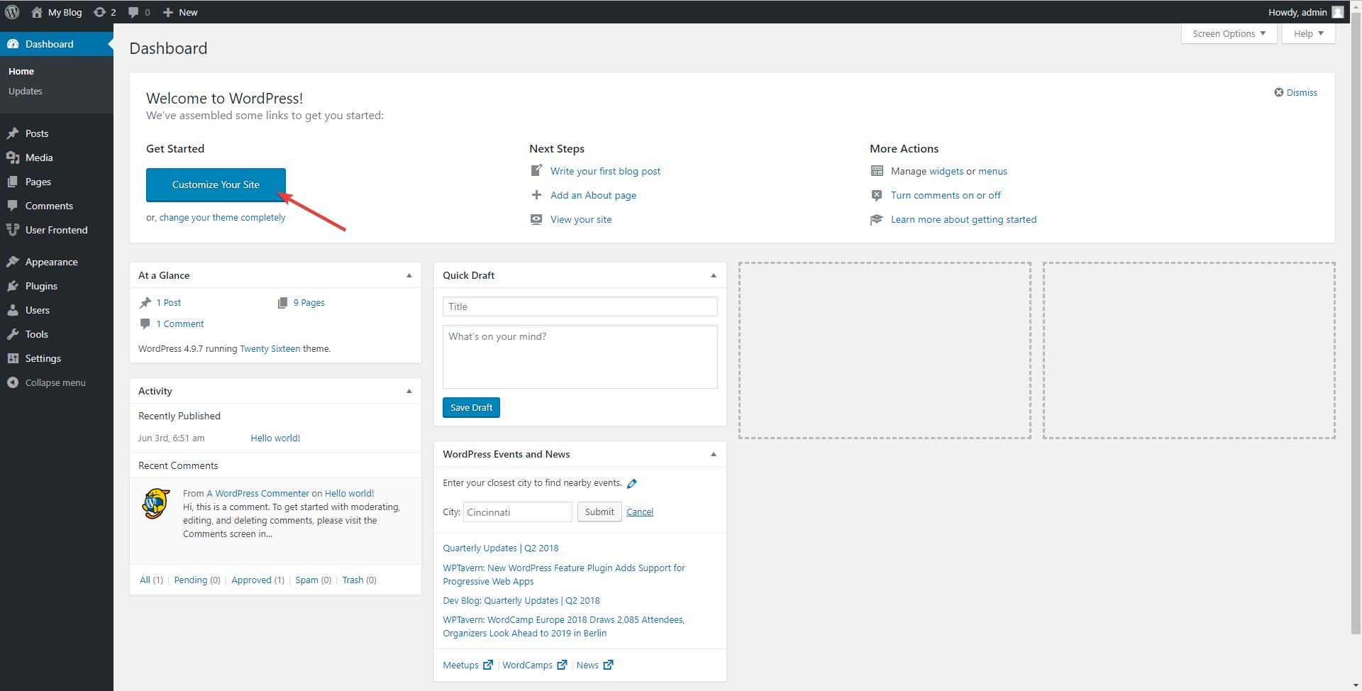 WordPress Admin dashboard (backend)