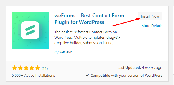 weForms WordPress Form Builder