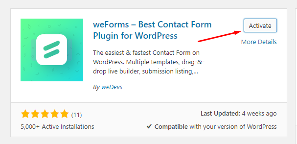 weForms WordPress Form Plugin