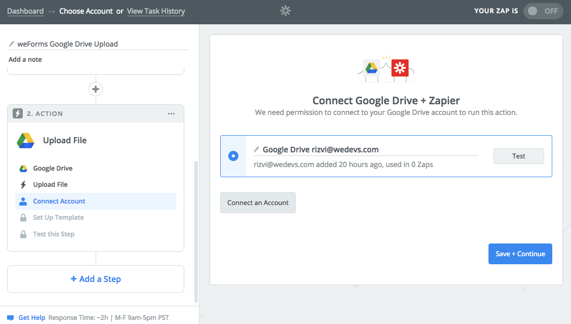 weforms-zapier-zap-connect-account-google