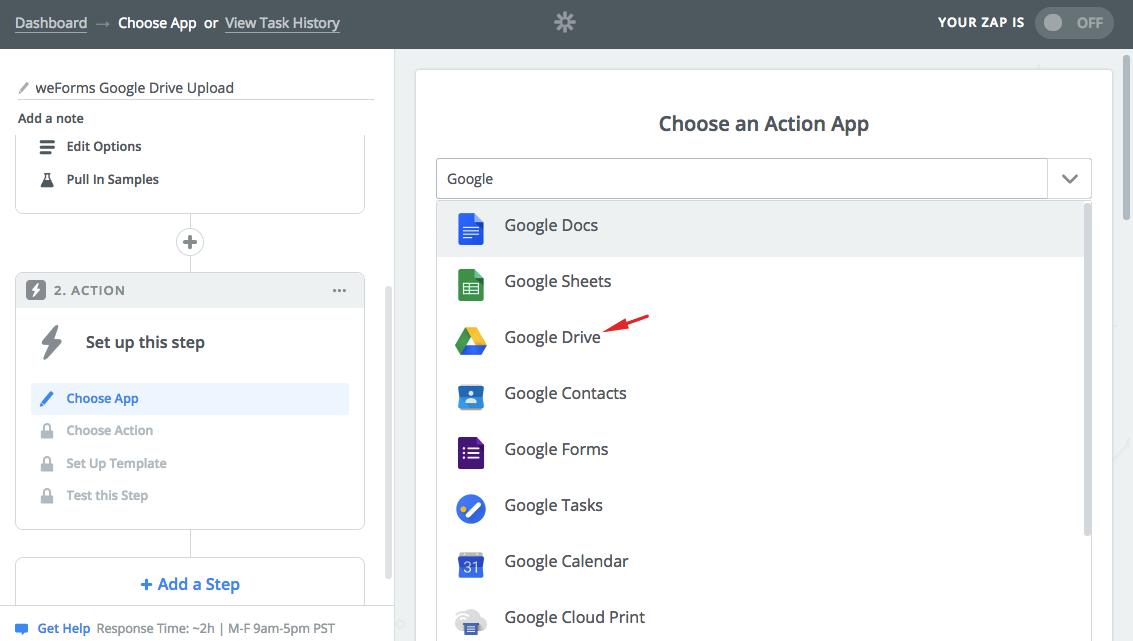 weforms-zapier-zap-google-drive
