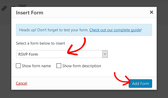 rsvp form in wordpress