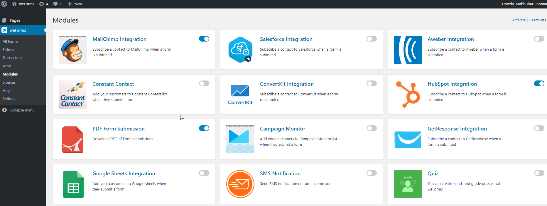 weForms-hubspot integration