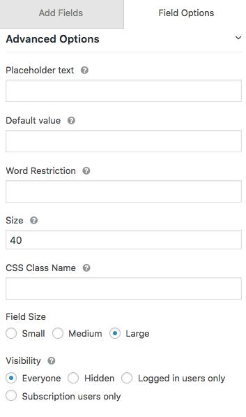 Visibility option settings