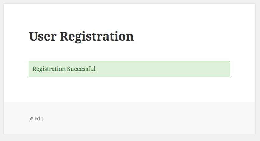 User Registration Success