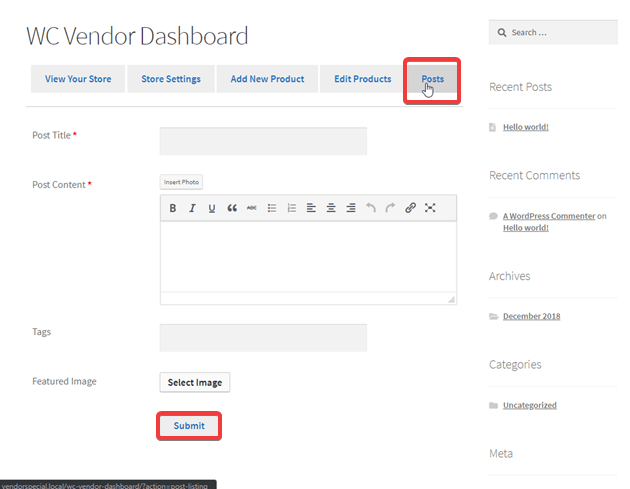 Vendor Dashboard