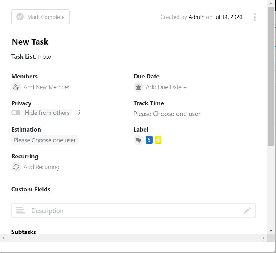 Task list before label creating- easy task management